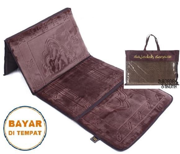 (COKLAT) 1 Sajadah Sandar Surabaya 100% Premium Quality Sajadah Lipat Portable Beludru