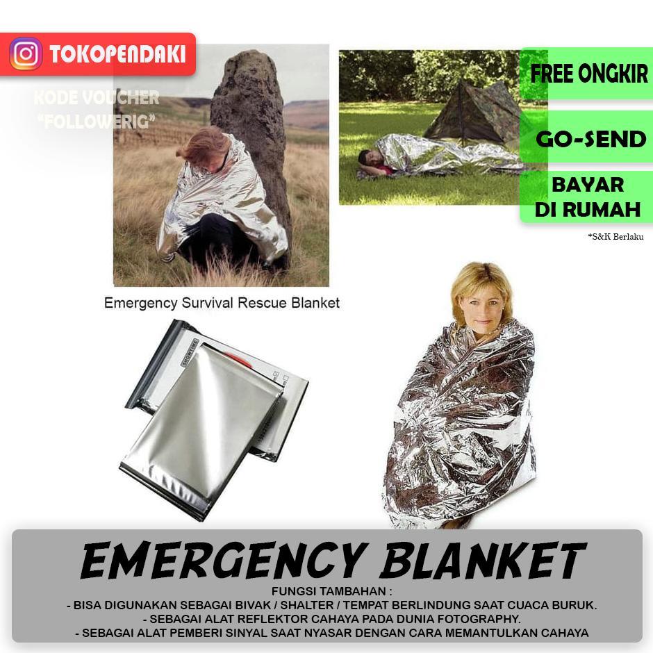 Selimut Foil Anti Dingin Emergency Blanket Multifungsi Survival Kit