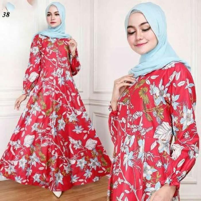 (JNH Shop)  Gamis Maxy Bunga Ima Red Baju Wanita Dres Maxi 38 Merah TA