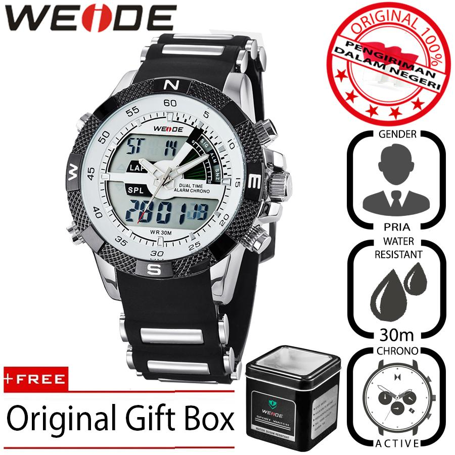 Weide 1104 Jam Tangan Pria Original Bisnis Sport 47mm Anti Air 30M Chrono Stopwatch - Premium Watches