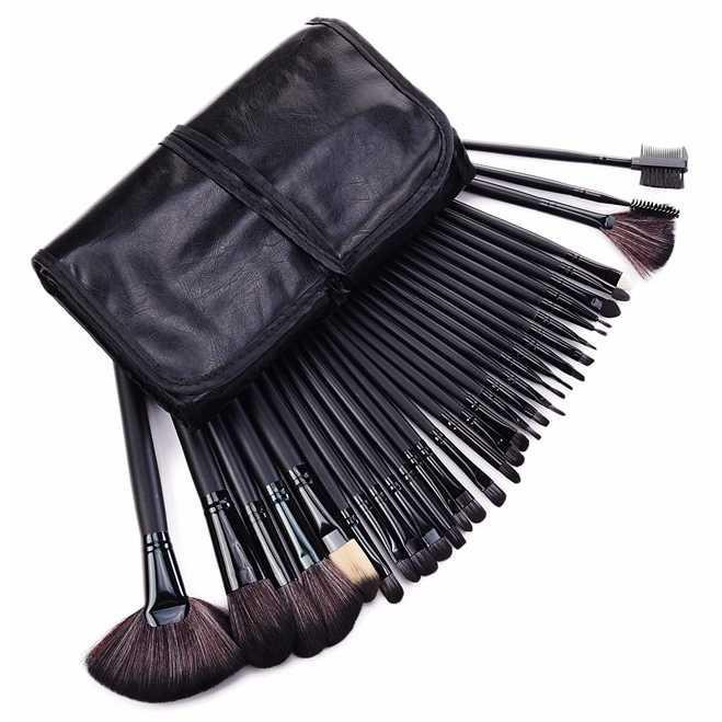 Brush Make Up 32 Set dengan Pouch / jual kuas makeup set / Jual kuas make up lengkap / harga make up brush set / harga kuas kosmetik / beli kuas make up lengkap /  jual kuas foundation murah