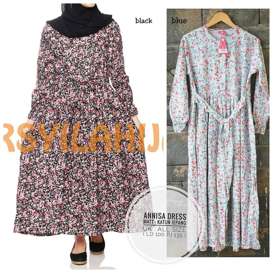 Gamis Annisa Dress Cotton Jepang Baju Wanita Panjang Muslim Casual Pakaian Hijab Syar'I Modern Baju Gaun Pesta Modis Trendy Baju Model Terbaru