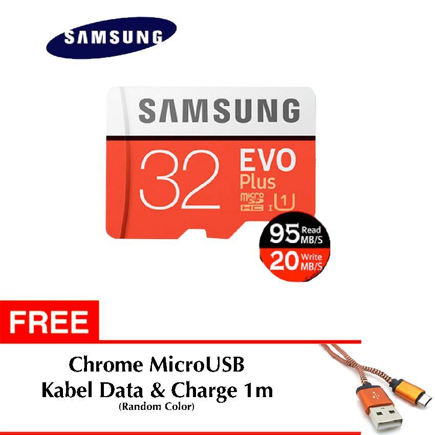 Samsung Evo PLUS Micro SD / Micro SDHC UHS-I Class 10 32GB + SD Adapter Free Chrome Kabel Data & Charge 1m Microusb