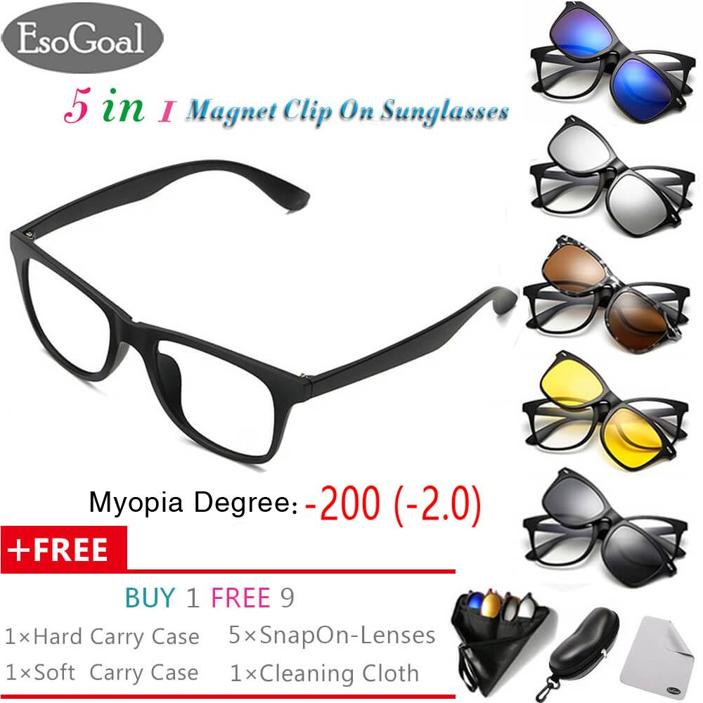 [Exclusive Sale] EsoGoal Myopia Magnetic Sunglasses (-1.0 ~ -3.0) Clip On Glasses Unisex Polarized Lenses Retro Frame with Set of 5 lenses