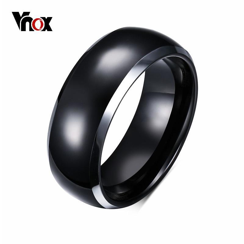 Vnox Cincin Pria Dasar 8 Mm Band Pernikahan Hitam Murni Tungsten Carbide Cincin Pria Perhiasan Bague