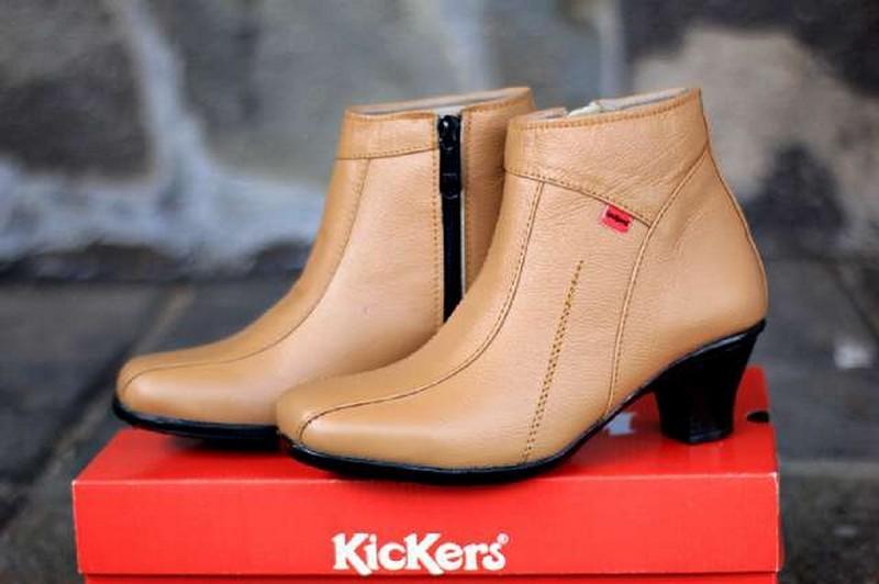 Sepatu Wedges Heels Pantofel Wanita Kulit Asli Kickers Zipper Formal Kerja Kantoran Slop Casual - Free Kaos Kaki
