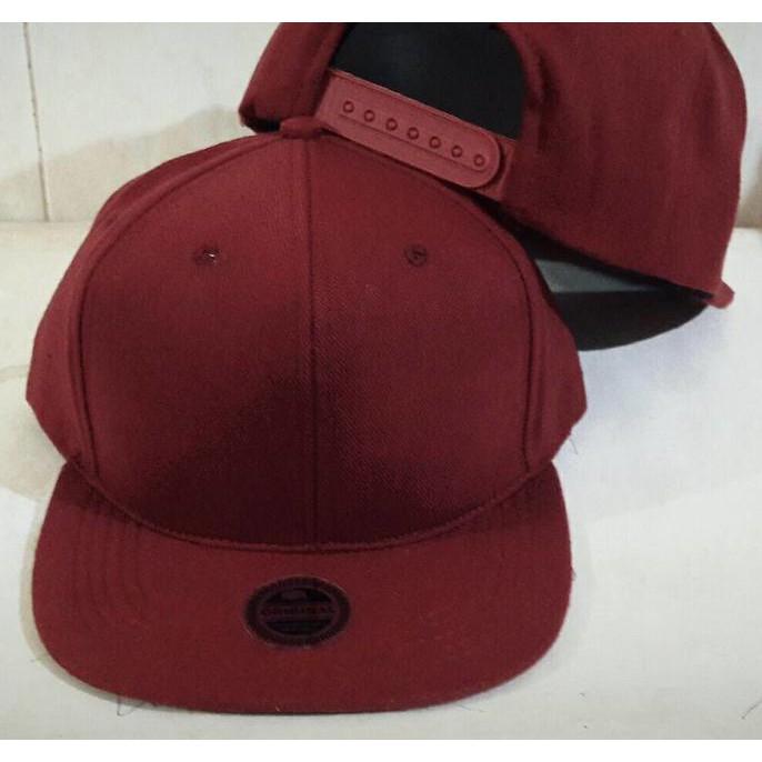 Grosir Topi Snapback Hiphop Polos Merah Marun Topi Murah - 4C0ytz