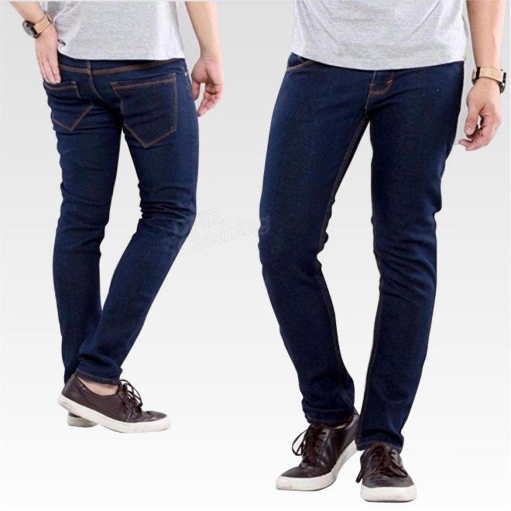 WSCollection celana biru dongker pria ber bahan soft jeans model skinny harga murah