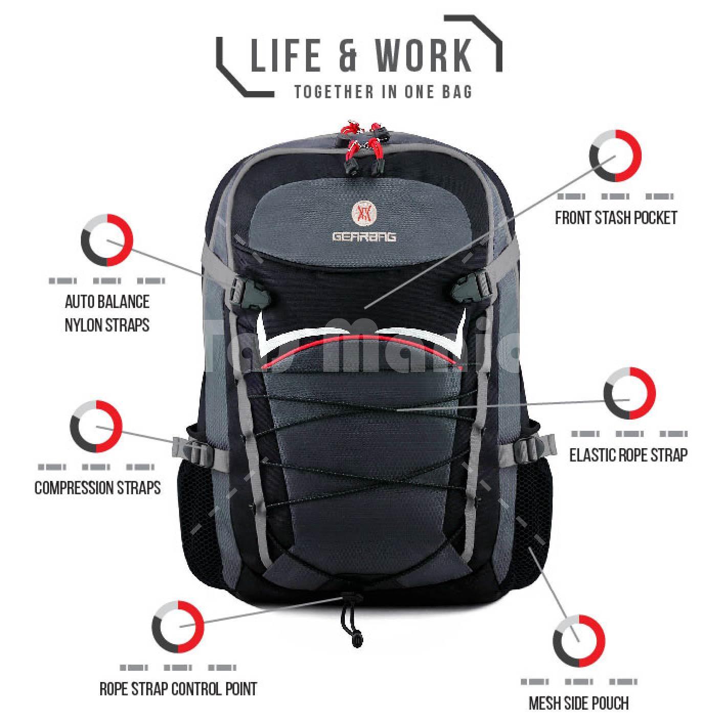 Gambar Produk Rinci Tas Ransel Gear Bag Andromeda Tas Laptop Backpack - Silver Black S2 + Raincover + FREE Tas Selempang Black Warrior Tas Pria Tas Kerja ...