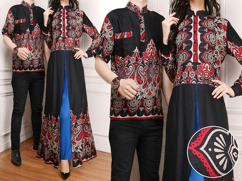 LFashion Baju Lebaran Kemeja Batik Pria dan Dress Wanita Couple /Gamis Pasangan / Kebaya Dress Wanita / Set Muslim (Batik llabe) 7T = Hitam Coklat Biru Tosca