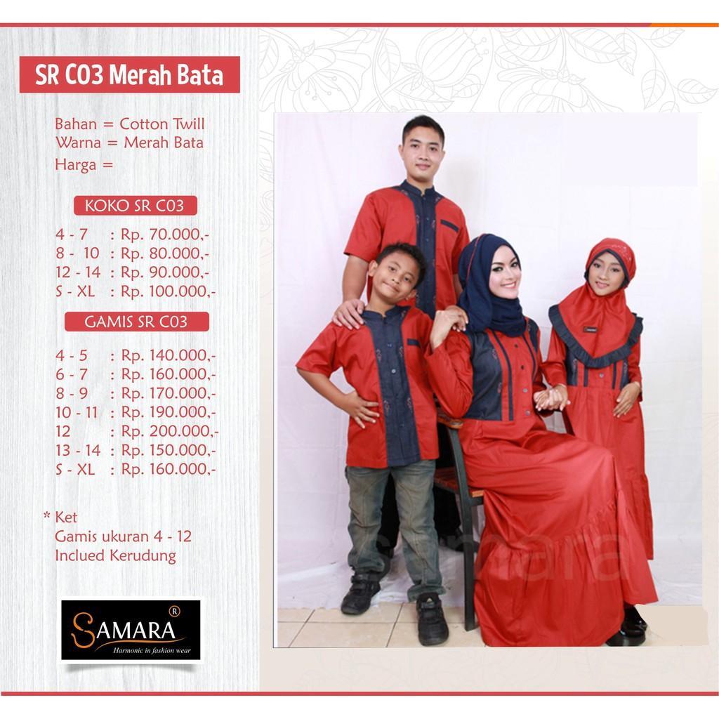 Baju Couple Busana Muslim Sarimbit Gamis Syari Koko Pria Anak Wanita Keluarga Lebaran / G.C03 Merah Koko Anak 4,6