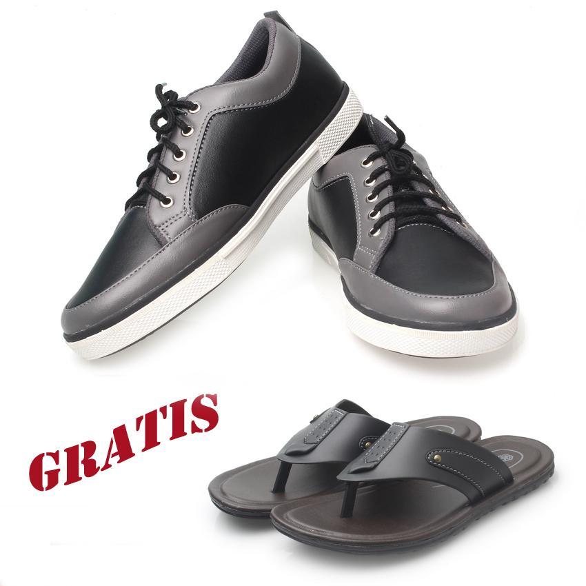 Kaiko / RK shoes /sepatu kets sneakers dan kasual pria / sepatu kasual kanvas / sepatu sneaker pria / sepatu pria / sepatu sneaker murah /sepatu pria casual /sepatu pria kasual / sepatu pria kulit K01 (hitam dan abu-abu) GRATIS sandal pria R1 hitam