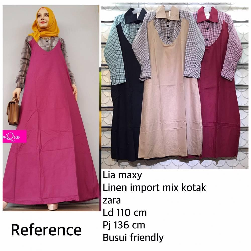 Flavia Store Maxi Dress Lengan Panjang Set 2 in 1 FS0587 - MAROON / Gamis /. Source · Gamis Cewek Trendy Lia Maxy / Gamis Linen Mix Kotak Zara / Gamis ...