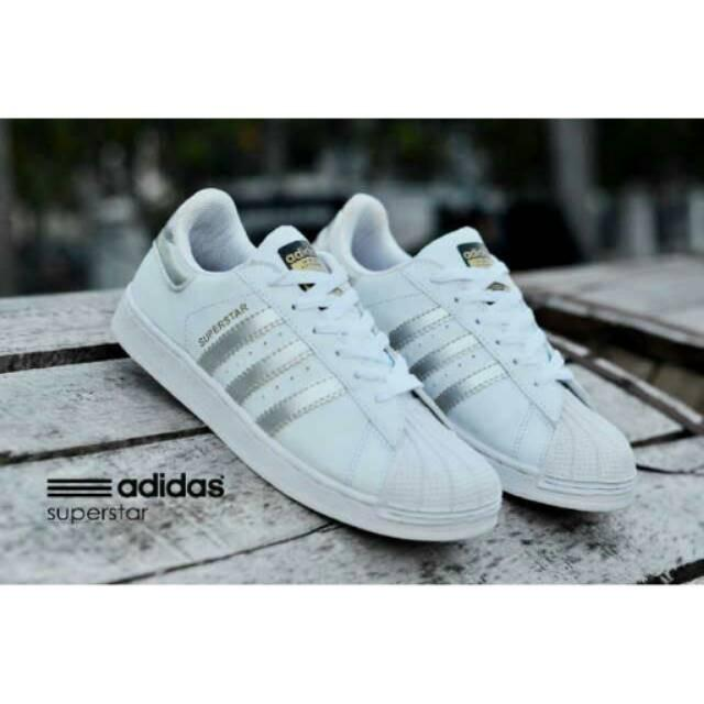 Adidas Superstar Import Ori Vietnam White List Silver Woman