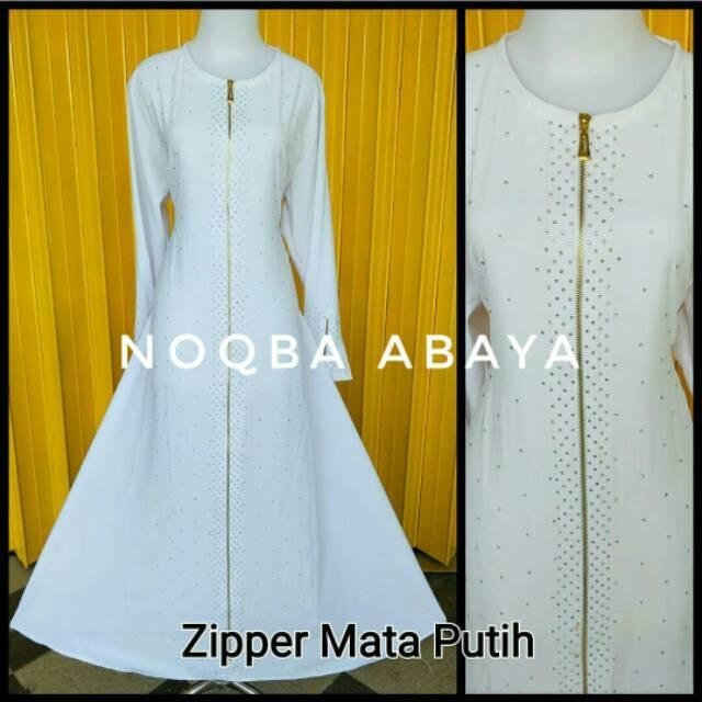 Exclusive Abaya Gamis Jubah Dress Putih Arab Saudi Zipper Mata Baju Umroh Mekkah Madinah Polos Haji S