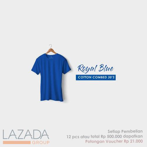 Kaos Polos Royal Blue Fashion-able Label [PREMIUM QUALITY]