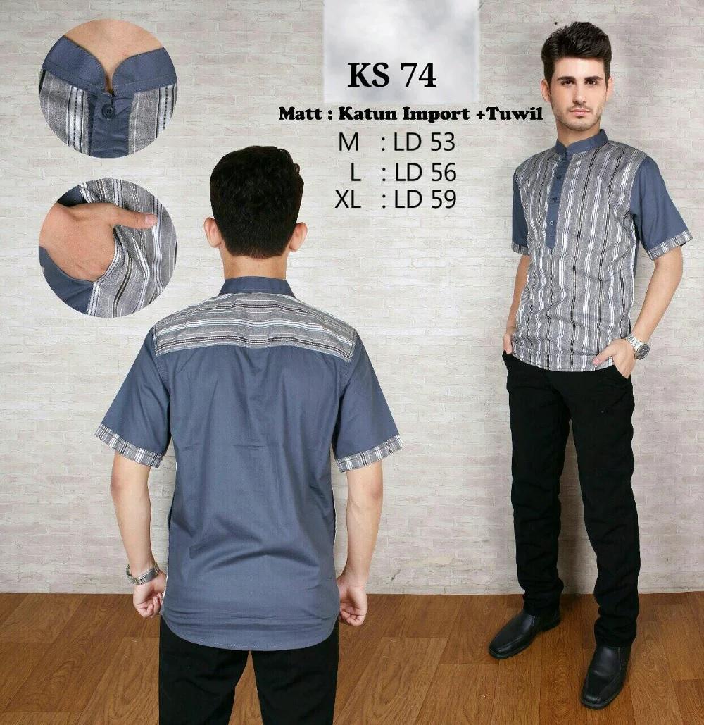 Baju Koko Modern Semi Slimfit - Kemeja Muslim - Gamis Pria - Jasko - Pakaian Atasan Muslim Pria Murah - Koko Lengan Pendek - Best Seller 1