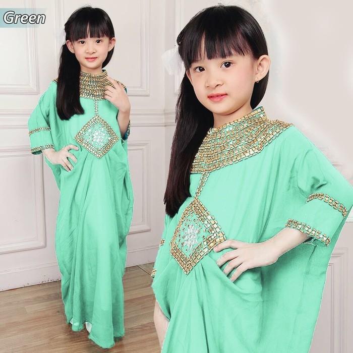 Promo Sale KR- Kaftan Cleo Kid Hijau Muda Termurah