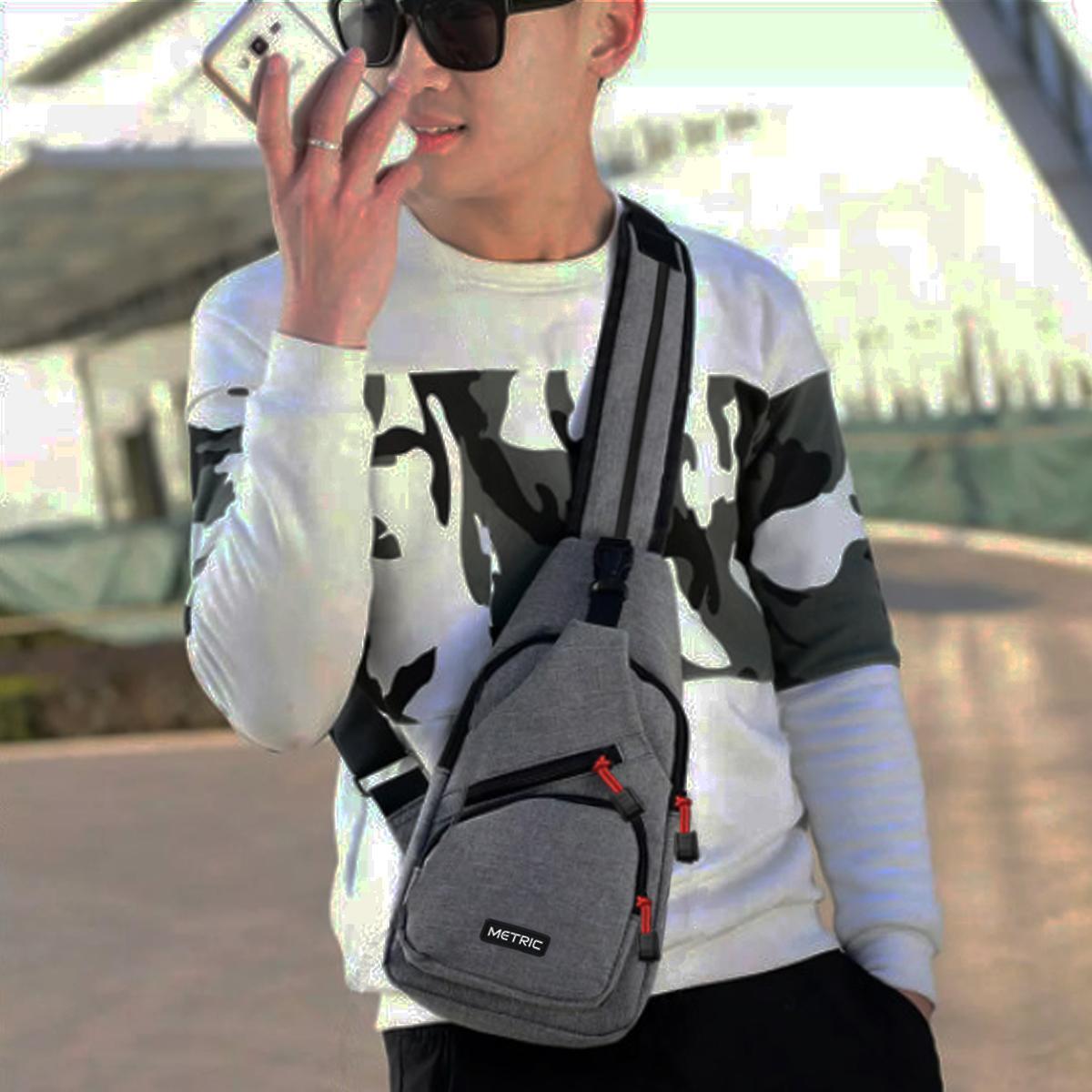 Metric Sling Bag Korea Tas Ransel Tali Satu Tas Waistbag Tas Selempang Tas Gadget Tas Smartphone Kode Artikel Mi004 Street Style Korean Design - Grey