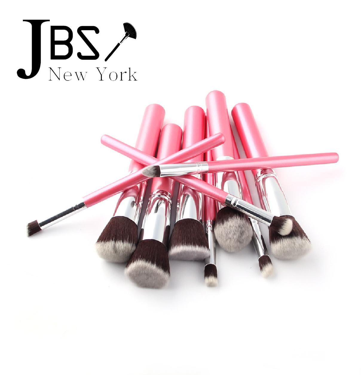 ... JBS Kuas Makeup Brush Set Cosmetic Blending Pencil Brushes Pink - 10 Pcs - Spon Make