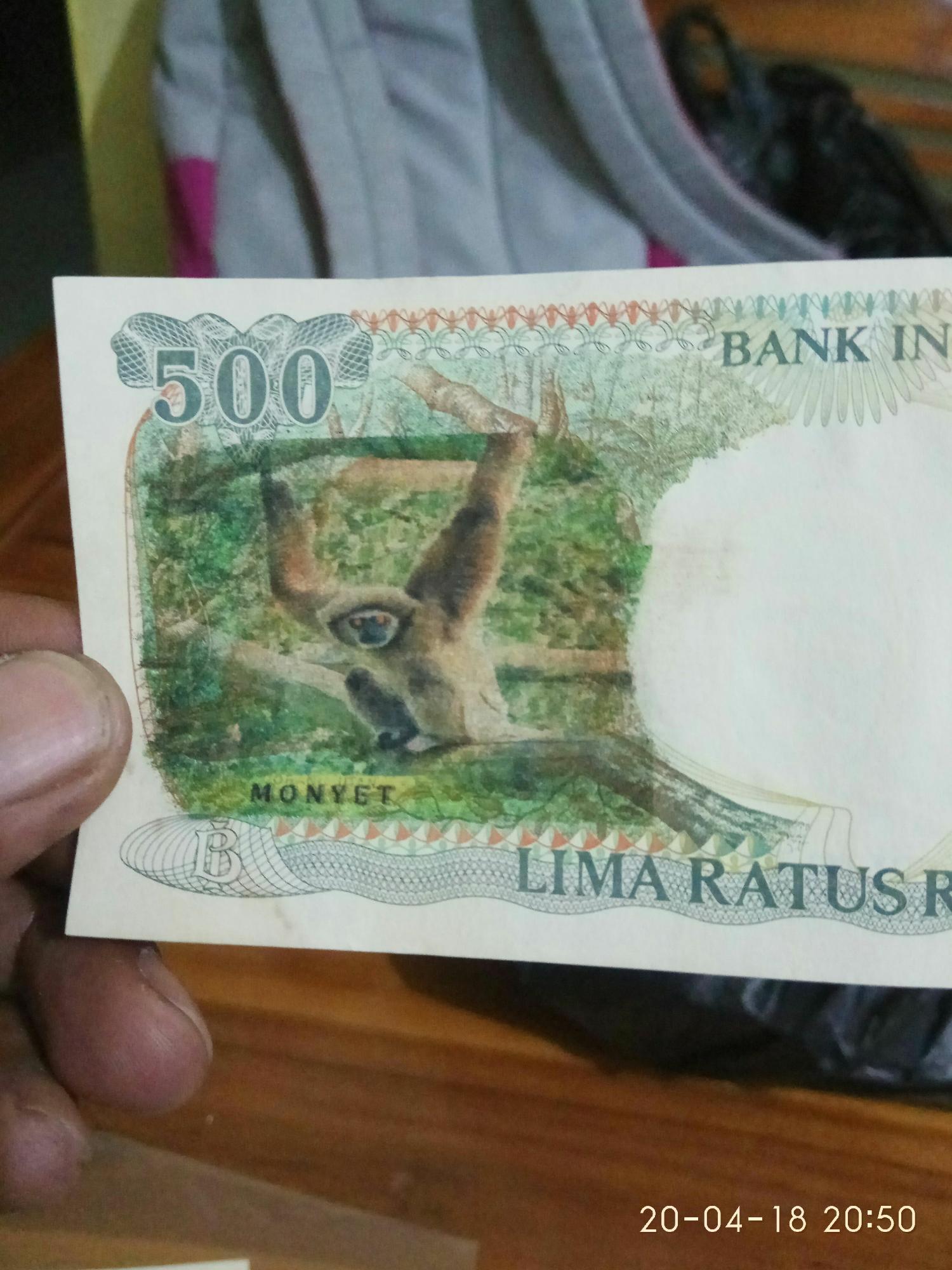 Uang Kuno UKA-UKA 500 Kera Gantung 2 Tahun 1991 Jarang Ada Kondisi Mantap