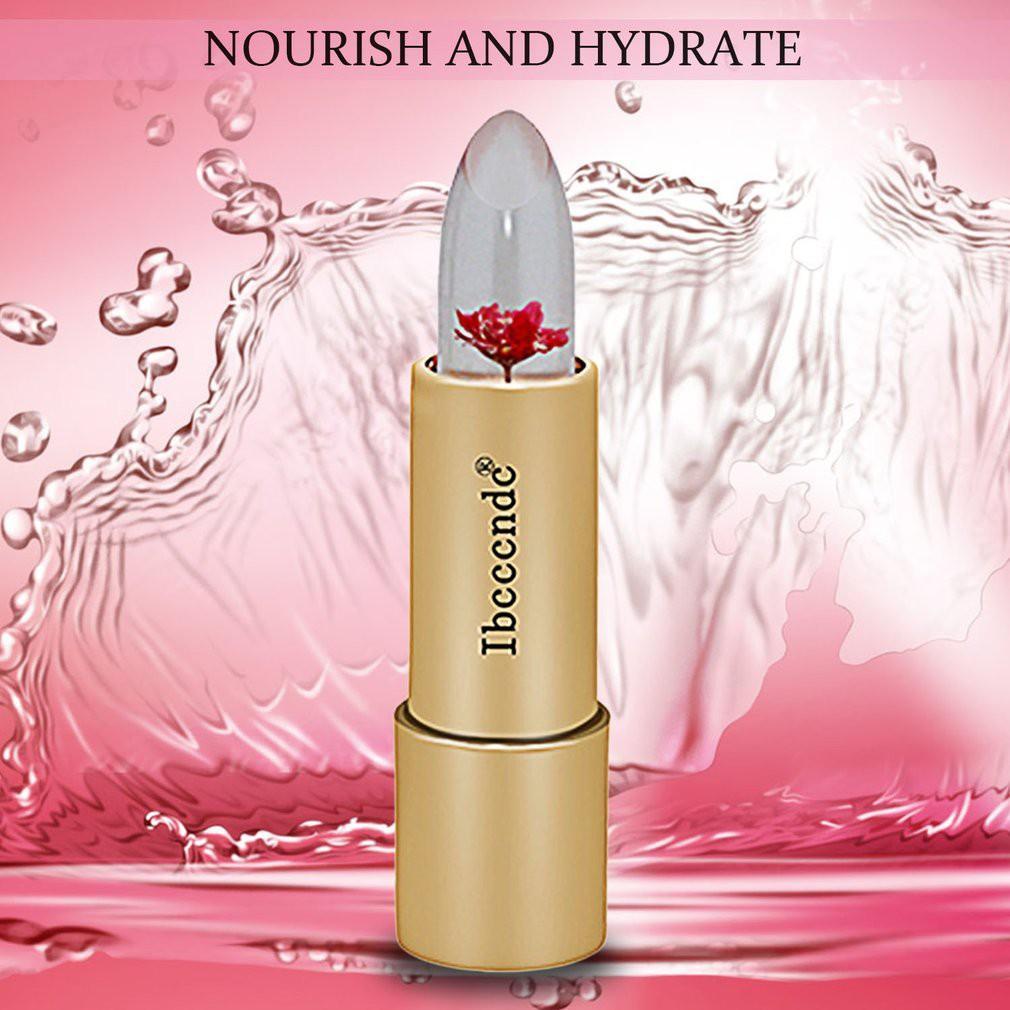 IBCCCNDC Lipstik+Pelembab Bunga Essen Dapat Berubah Warna Sesuai Tempertatur Warna Merah/Pink