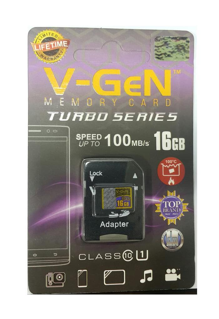 MicroSD V-GeN Turbo 16GB + Adapter Class 10 100MB/S - MicroSD VGEN Memory HP