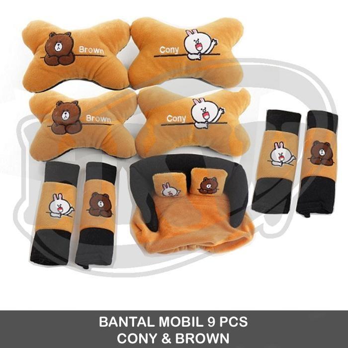Bantal 9 Pcs Cony Brown Line Mobil Grand Livina