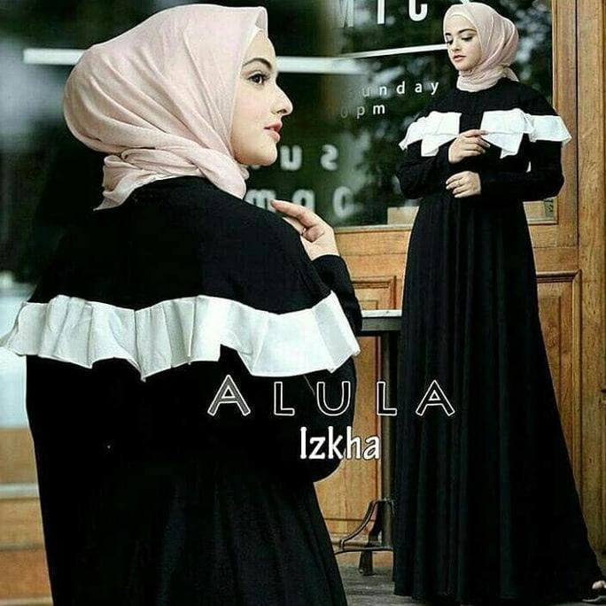 Dress Putih / Gamis Hitam / Baju Pesta/ Pakaian Hijab : Alula Dress  Wtyuk