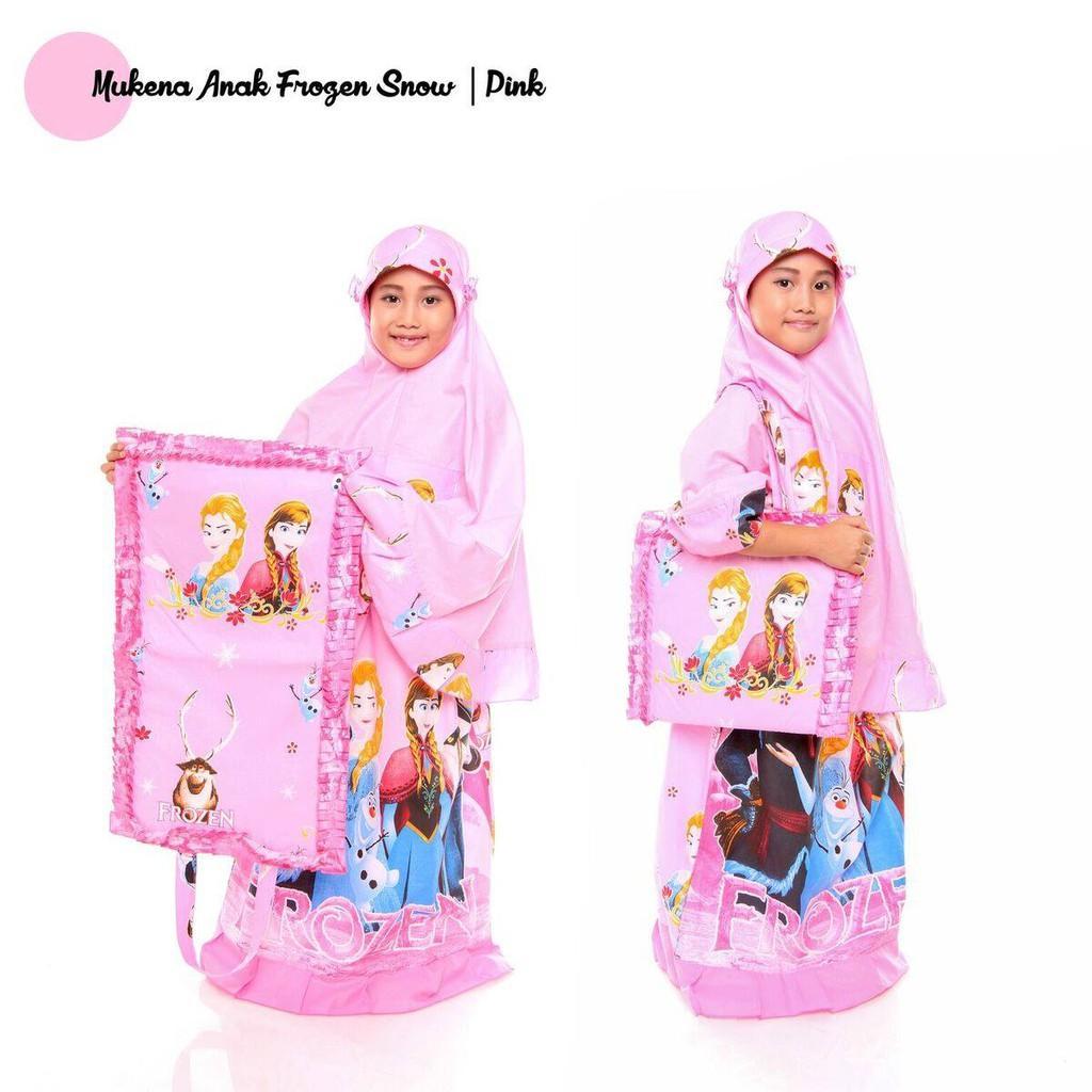 Mukena Anak Frozen Snow- Tas Sajadah- Katun- Ririe Fashion Mukenah- Mukenah CantikModern Biru S