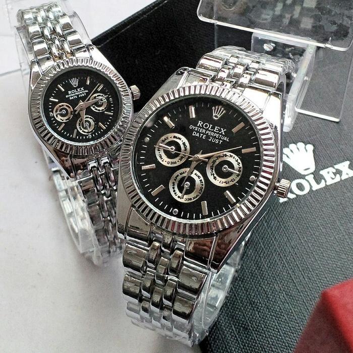 LARIS Jam tangan couple rolex putih / jtr 222