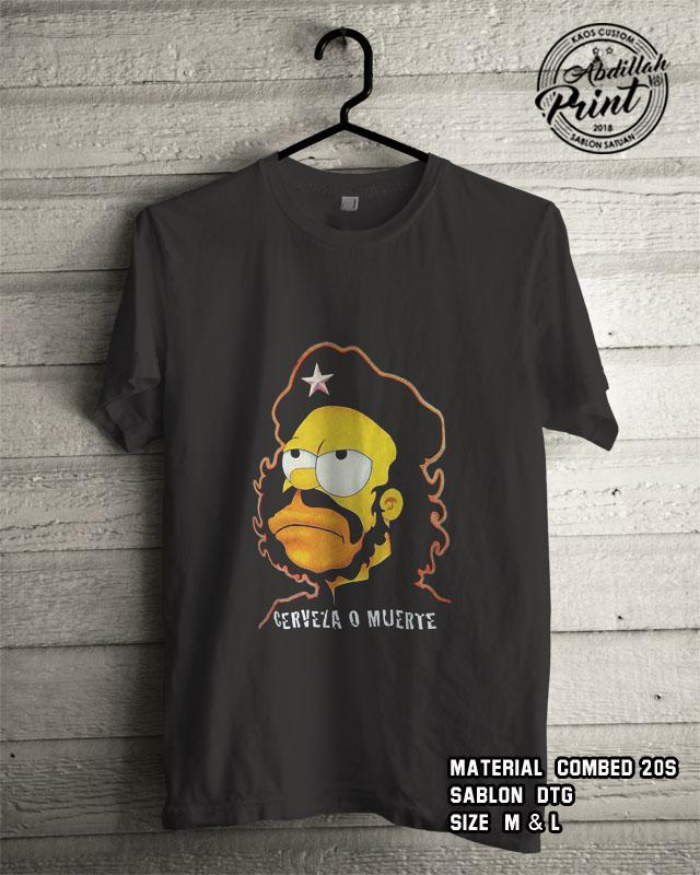 Kaos Distro Custom Design T Shirt Casual Atasan Pria Wanita Cotton Combed 20s Sablon DTG Quality Export - The Simpson Cervesa - Black