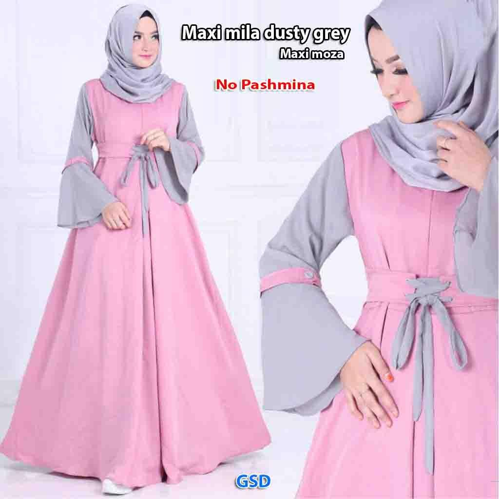GSD - Baju Wanita / Baju Busui / Dress Muslim / Baju Gamis / Gamis Syari Busui - Maxi Moza  Dusty