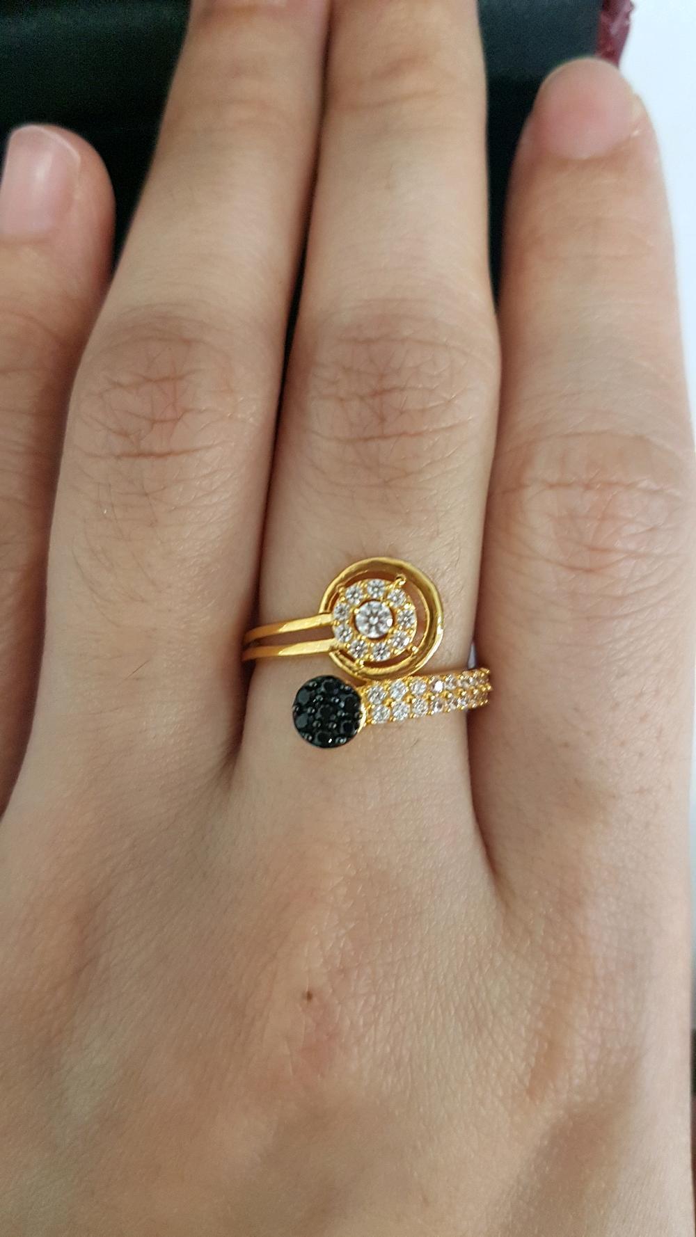 Cincin Emas Asli Kadar 875 Model Permata Hitam Putih Terbaru
