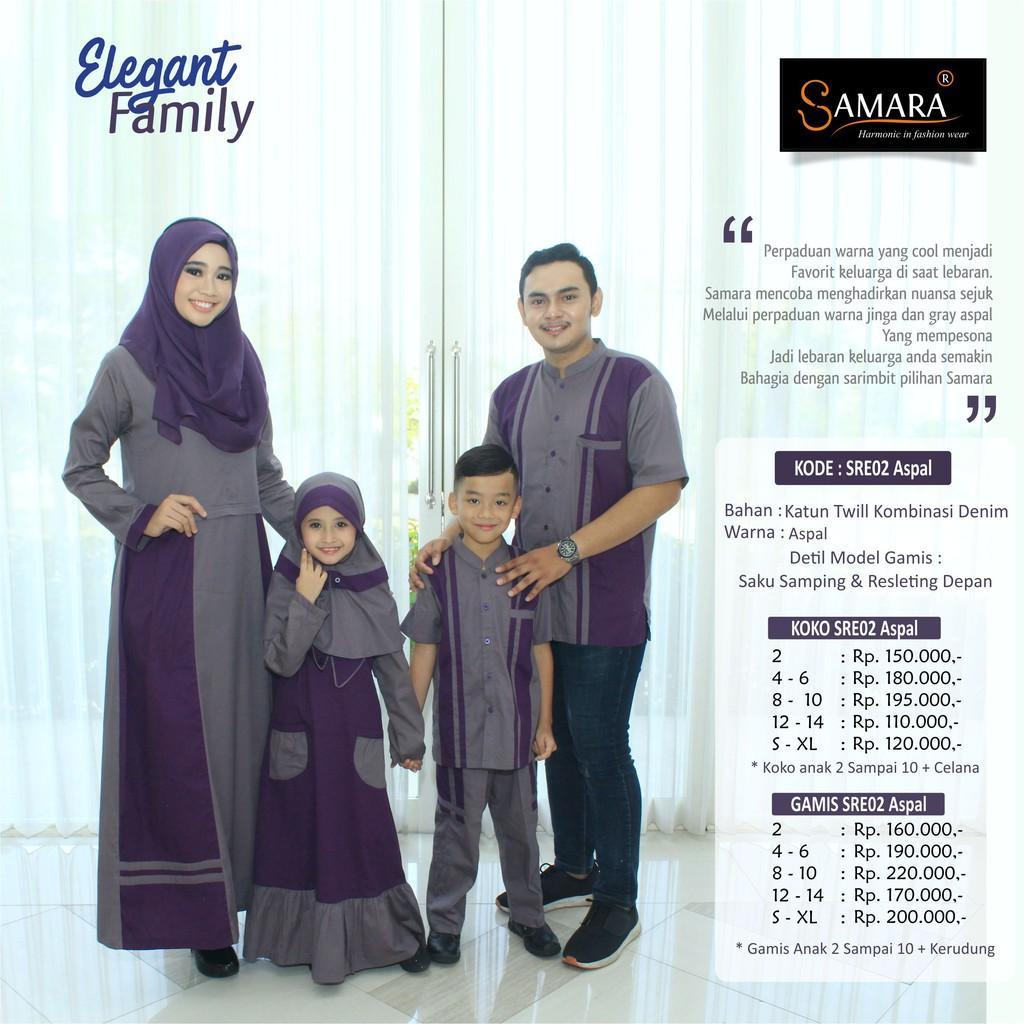 Baju Couple Keluarga Busana Muslim Sarimbit Gamis Syari Koko Pria Anak Wanita Lebaran / SAMARA SRE02 Gamis Anak 14 tahun