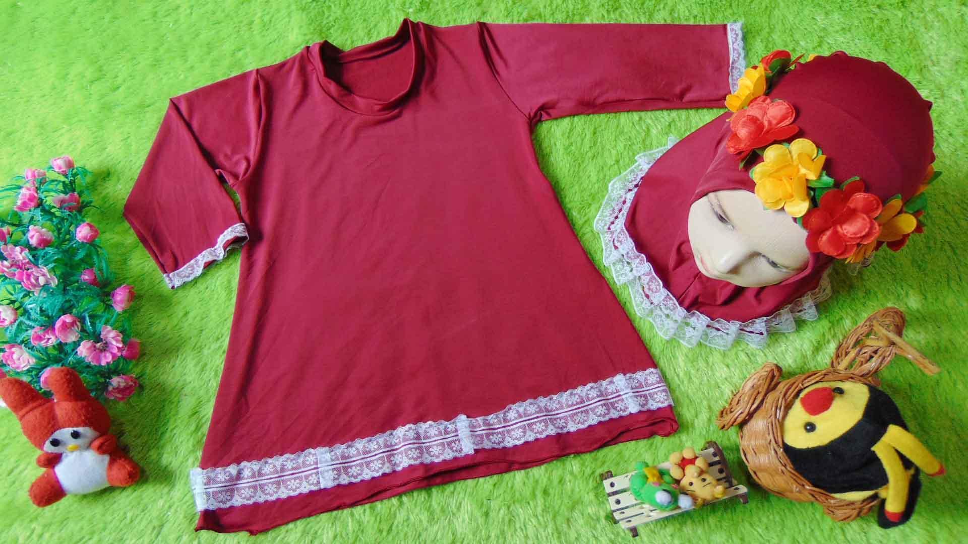 kembarshop - FREE FLOWER CROWN Gamis Basic Bayi Newborn 0-12bulan Maroon Renda Cantik Plus Hijab Kado Bayi