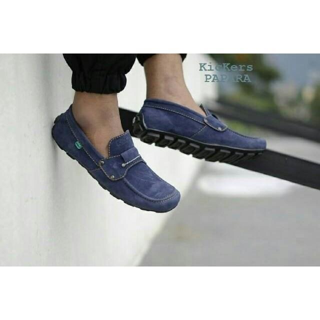 sepatu casual slop slip on formal kickers mocasin papara navy loafers santai kerja