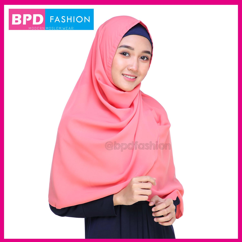 Kerudung Hijab Jilbab Khimar Instan Syari Plain Nayla Shawl Wolfis Wolvis Wolpeach Peach