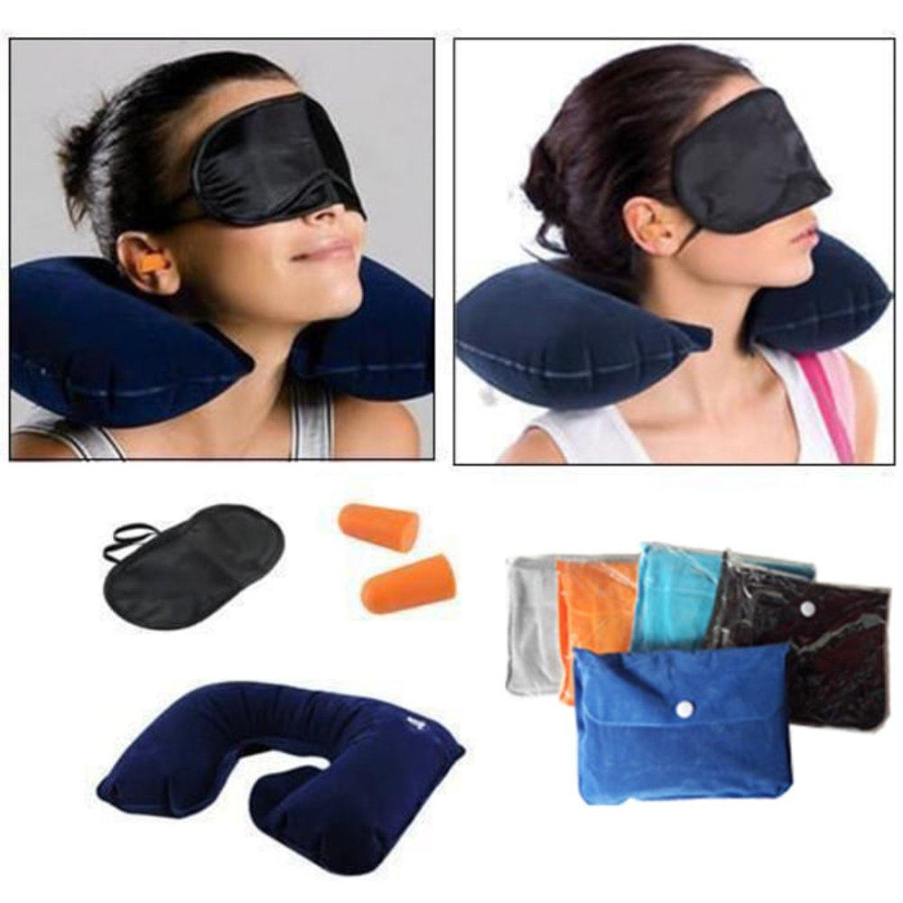 Travel Pillow Set 3 in 1 Bantal Leher Penutup Mata Penutup Telinga di lapak Indo Dealz indo_dealz