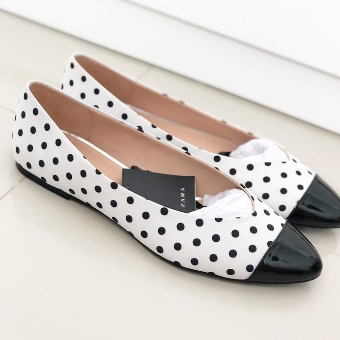 BEST SELLER Zara Flat Shoes Polkadot Ori Not Charles Keith MMMMCMXCIV