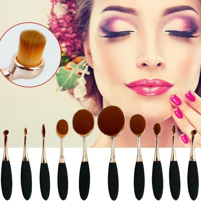 Kuas Kosmetik Make Up Oval Brush Wajah Tangkai Besi 10 PCS