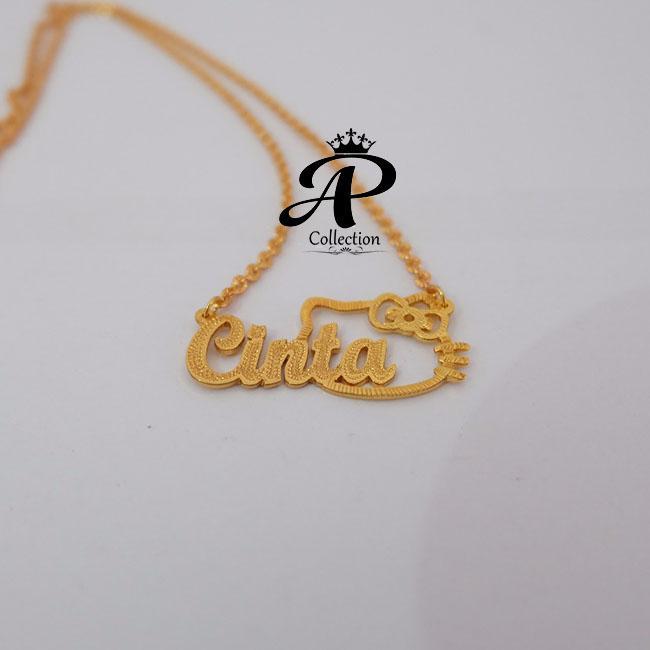 Jual Kalung Nama Gold Lapis Emas 24 Karat Bisa Cetak Sesuai