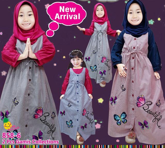 Baju Muslim Anak Cewek Gamis Overall Katun Garis Little Pineapple Kupu