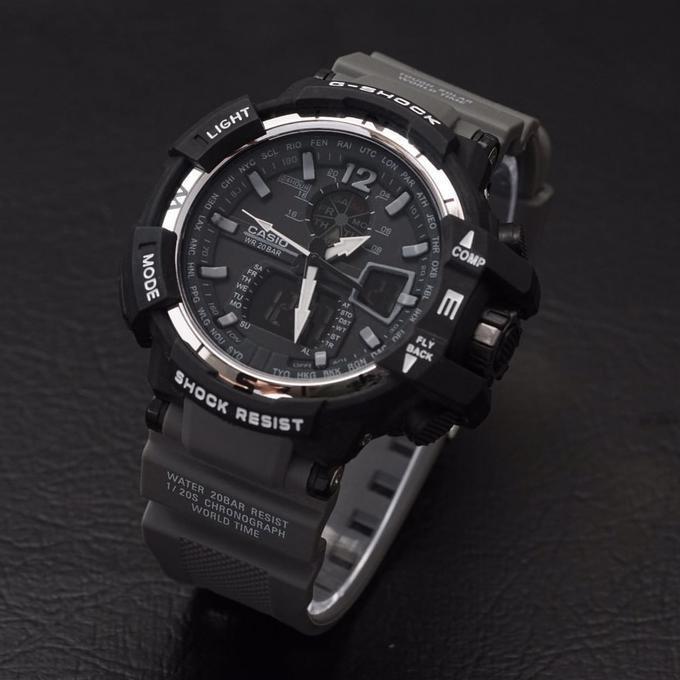 G Shock Gwa 1100 Tali Abu Hitam Black Gshock Gwa1100 Jam Tangan Pria - Timewatch