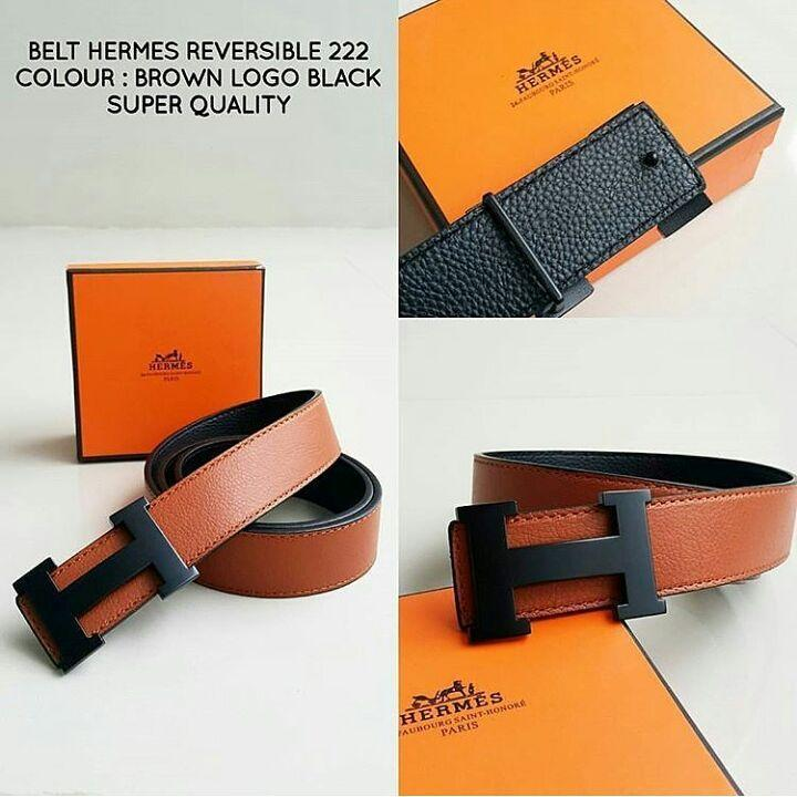 ikat pinggang Hermes Revesible 222 Brown Logo Black