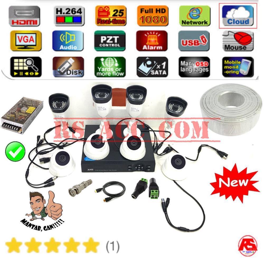 Murah !!! Paket Lengkap IC SONY Cctv Camera Outdor White & Indor White Infrared Avicom 8 Ch Full HD + 1000Gb