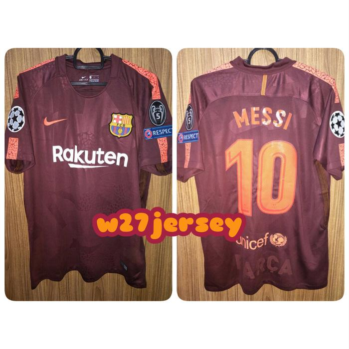 Jersey Barcelona 3rd 2017/2018 name player Messi + Patch UCL - y7tpTo