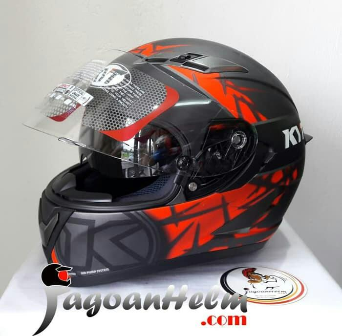 Helm KYT Vendetta 2 Spike Black Red Doff Vendetta Dual Visor