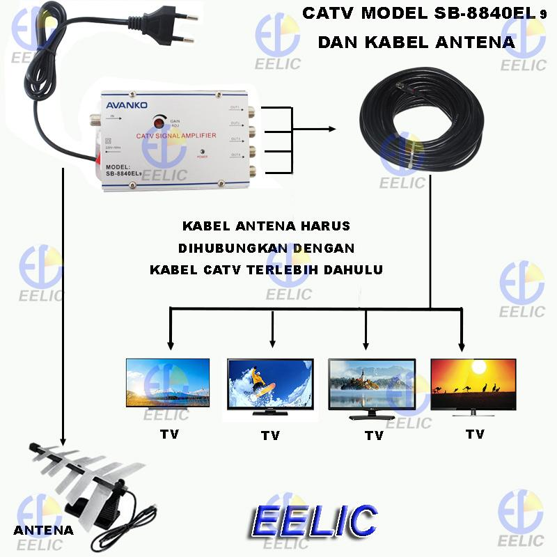 ... EELIC CSA-8840EL9 MIX PENGUAT SINYAL 40 dB CATV SIGNAL AMPLIFIER TV BROADBAND 1 INPUT ...