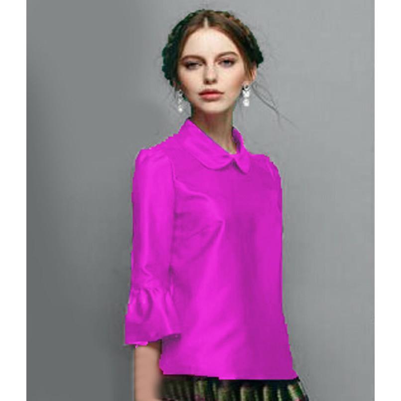 (JNH Shop)       [Blouse Rosela Pink SW] Blouse Wanita Saten Velvet Pink